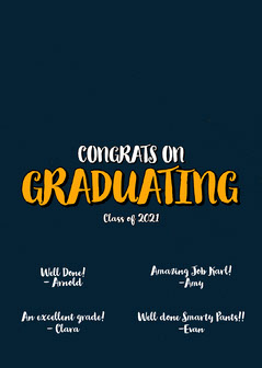 Navy and Orange Typography Graduation Congratulations Card Graduation Congratulation