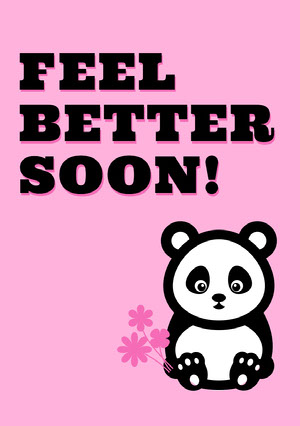 Pink Illustrated Get Well Soon Card with Panda God bedring-kort