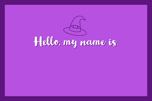 Violet and White Halloween Trick Or Treat Party Name Tag Nimikortti