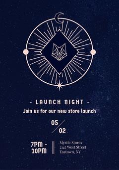 Navy Occult Night Sky Mystic Store Invitation Launch
