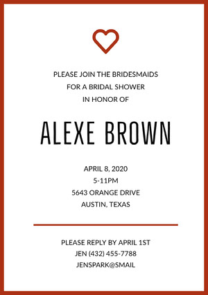 ALEXE BROWN  Bridal Shower Invitation
