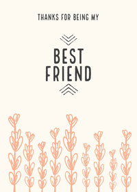 Blue and Pink, Minimalistic Best Friends Card Thank You Messages