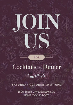 Purple Leaves Cocktails Dinner Party Invite A5 Pattern Design