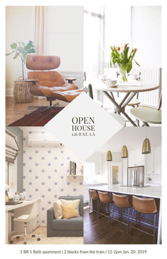 Open House Real Estate Agency Flyer with Interior Collage Agency