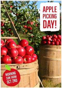 Red Apple Picking Day Flyer with Orchard Autumn