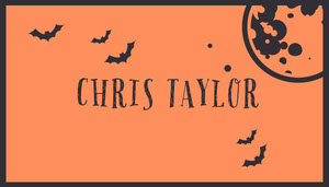 Orange Bats and Moon Halloween Party Place Card Place Cards