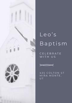 White and Violet Baptism Invitation Baptism