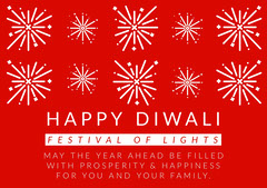 Red and White, Light Toned Diwali Wishes Card Festival