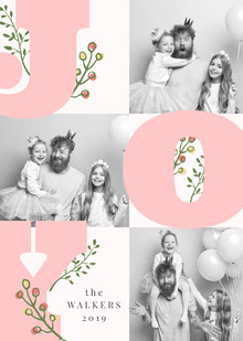 Light Toned, Pink and Grey Family Wishes Card Cartes
