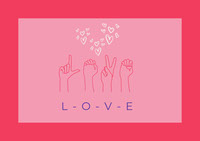 Pink Love Sign Language Valentines Card Messages d'amour