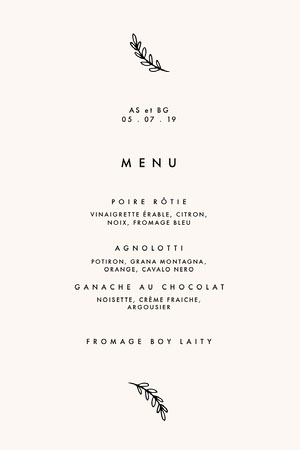 minimal designed wedding menu  Menu
