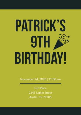 Green and Black Birthday Invitation Birthday Invitation (Boy)