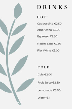 leaf drinks menu Drink