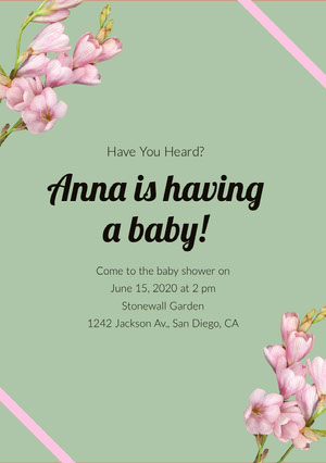 Green and Black Baby Shower Invitation Pregnancy Announcement