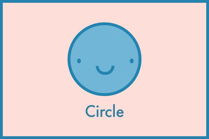 Blue and Pink Flashcard Shape Circle Flashcard
