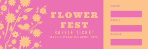 Pink and Orange Floral Flower Festival Raffle Ticket Billet de tombola