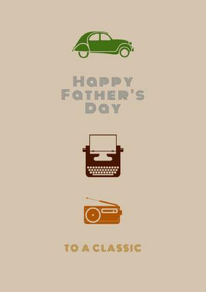 Beige With Icons Happy Father's Day Card Cartão de Dia dos Pais