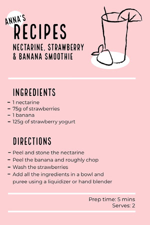 Pink Illustrated Smoothie Recipe Card 조리법 카드