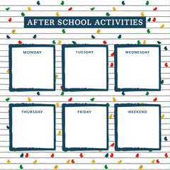 red navy white after school activities square timetable instagram square After School