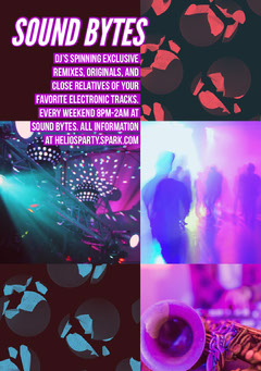 Purple and Pink Electronic Music Party Flyer with Collage Music