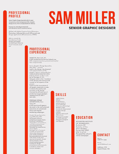 Red and White, Light Toned Modern Senior Graphic Designes Resume Best Fonts for Your Résumé