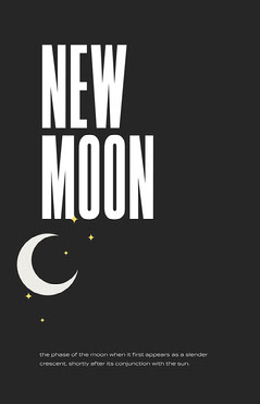 Black and White New Moon Poster Moon