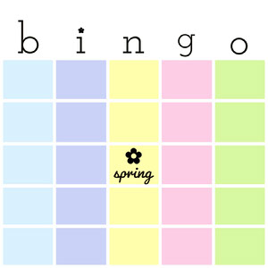 Pastel Colored Spring Bingo Card Carta da bingo