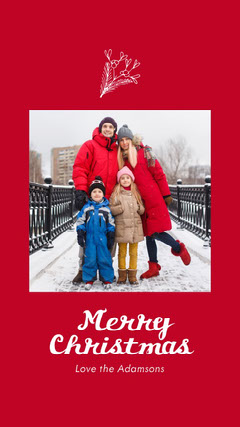 Red and White Split Frame Photo Merry Christmas Card Christmas Party