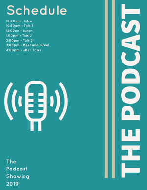 Blue and White The Podcast Flyer Planning
