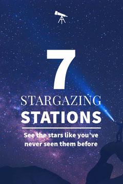 Blue and White Stargazing Stations Social Post Stars