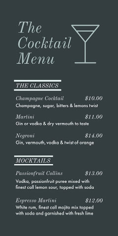 Grey and White Cocktail Menu Cocktails