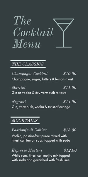 Grey and White Cocktail Menu Menu