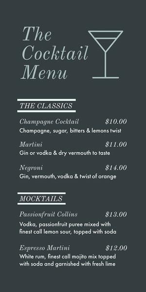 Grey and White Cocktail Menu Drink Menu