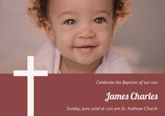 Red Baptism Announcement and Invitation Card with Baby Boy Boys