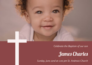 Red Baptism Announcement and Invitation Card with Baby Boy Invitation de baptême