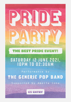 bright colorful pride party flag event poster  Pride
