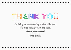 Colorful Thank You Card Teacher