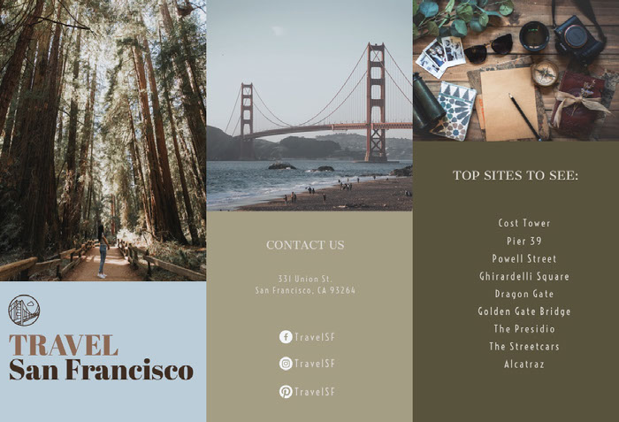 Warm Earthy Tones Travel Brochure for San Francisco Idées de brochures