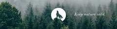 Green Nature and Environmental Conservation Horizontal Banner with Howling Wolf Illustration and Forest Forest