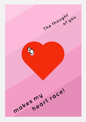Pink and Red Heat Valentine's Day Card Valentines Day Card