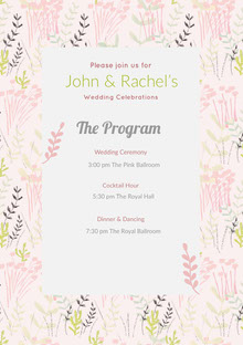 White and Pink Wedding Ceremony Program Wedding Program