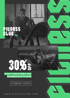 Grey with Green Gothic Type Fitness Club Coming Soon Flyer Fitness