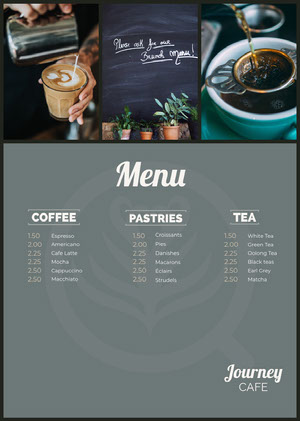 Grey and White Cafe Menu カフェ メニュー