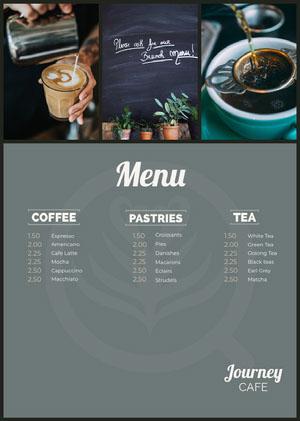 Grey and White Cafe Menu Cafe Menu