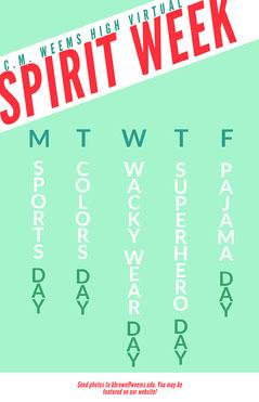 green virtual spirit week poster  Spirit Week