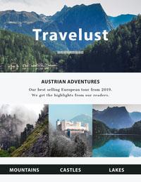 Blue and White Travel Newsletter Newsletter Examples