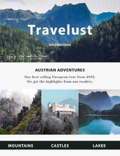 Blue and White Travel Newsletter Lake