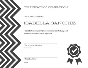 Black and White Graduation Certificate Certificat