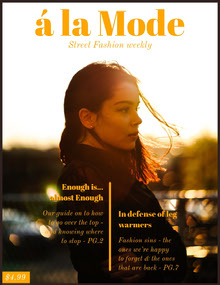 Orange Street Fashion Magazine Cover with Woman at Sunset Magazine Cover