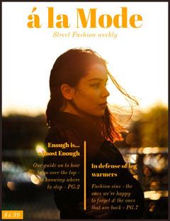 Orange Street Fashion Magazine Cover with Woman at Sunset Fashion